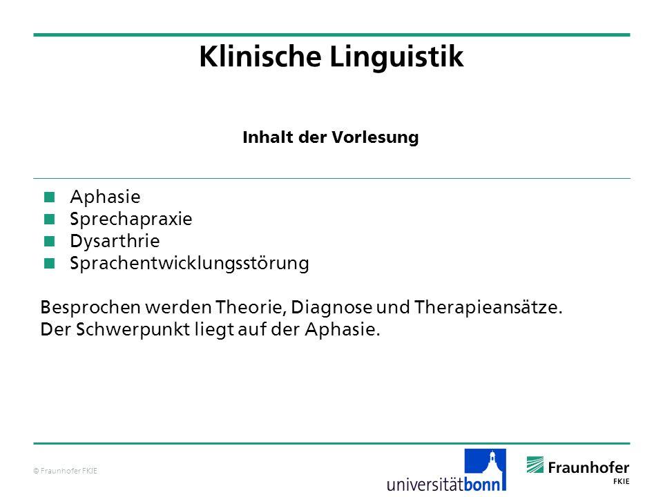 Klinische Linguistik Aphasie Sprechapraxie Dysarthrie