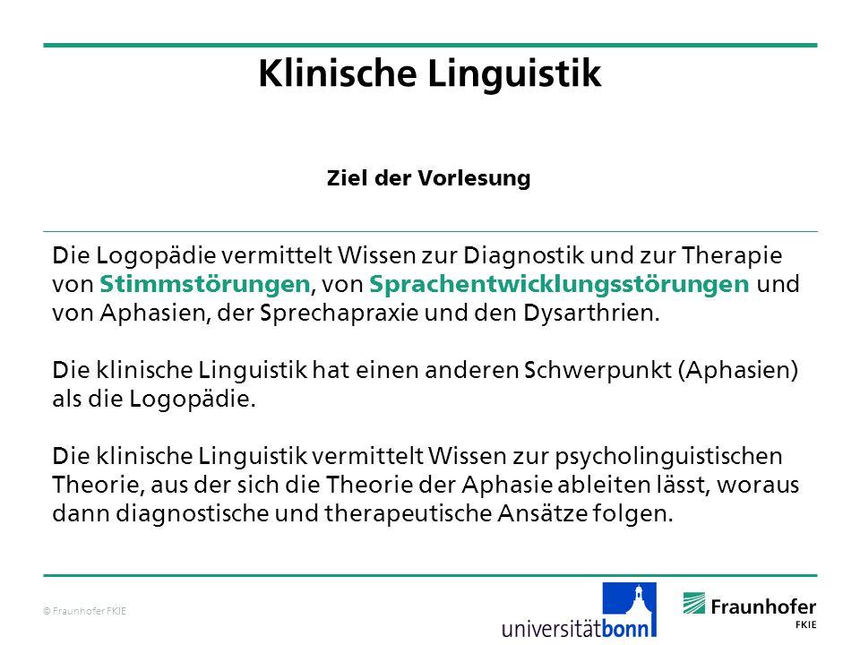 Klinische Linguistik Ziel der Vorlesung.