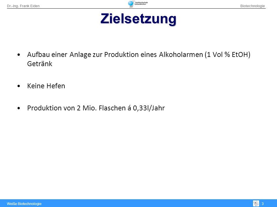 ZielsetzungAufbau einer Anlage zur Produktion eines Alkoholarmen (1 Vol % EtOH) Getränk. Keine Hefen.