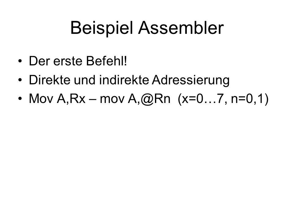 Beispiel Assembler Der erste Befehl!
