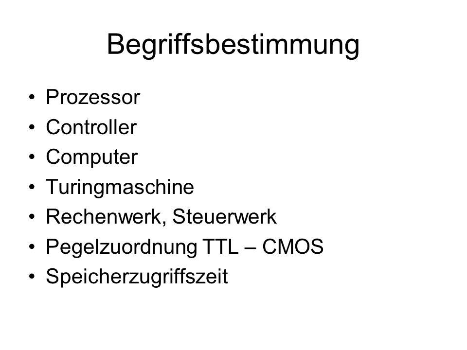 Begriffsbestimmung Prozessor Controller Computer Turingmaschine