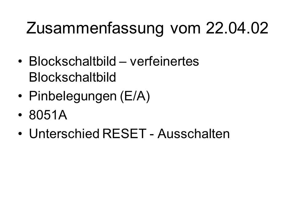 Zusammenfassung vom 22.04.02 Blockschaltbild – verfeinertes Blockschaltbild. Pinbelegungen (E/A) 8051A.