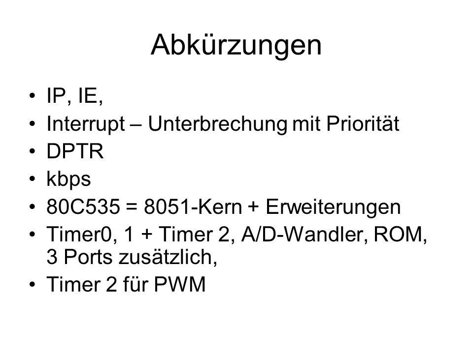 Abkürzungen IP, IE, Interrupt – Unterbrechung mit Priorität DPTR kbps