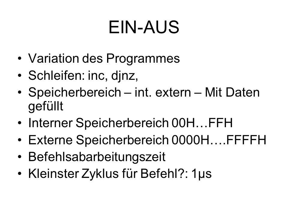 EIN-AUS Variation des Programmes Schleifen: inc, djnz,