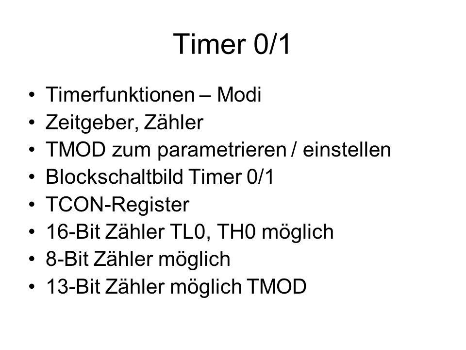 Timer 0/1 Timerfunktionen – Modi Zeitgeber, Zähler