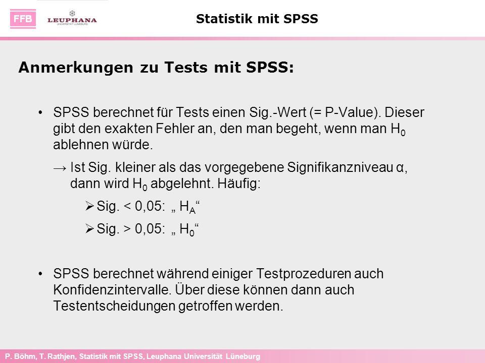 Anmerkungen zu Tests mit SPSS: