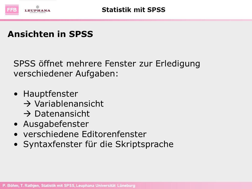 Ansichten in SPSS SPSS öffnet mehrere Fenster zur Erledigung verschiedener Aufgaben: Hauptfenster  Variablenansicht  Datenansicht.