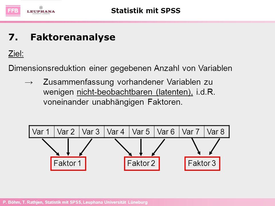 7. Faktorenanalyse Ziel: