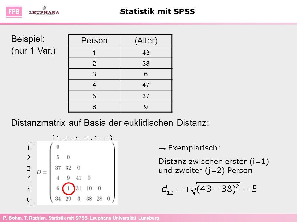 Distanzmatrix auf Basis der euklidischen Distanz: