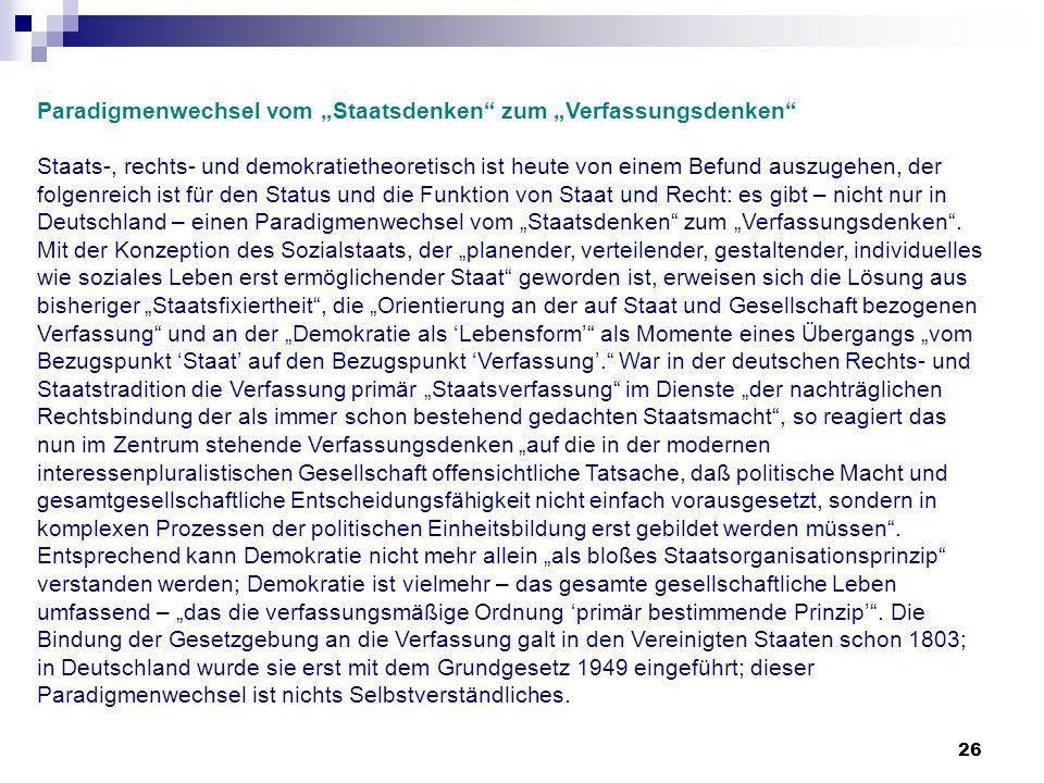 """Paradigmenwechsel vom """"Staatsdenken zum """"Verfassungsdenken"""