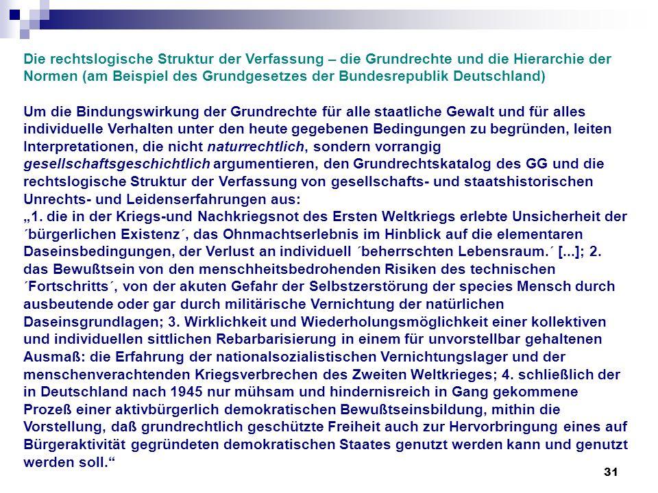 Die rechtslogische Struktur der Verfassung – die Grundrechte und die Hierarchie der Normen (am Beispiel des Grundgesetzes der Bundesrepublik Deutschland)