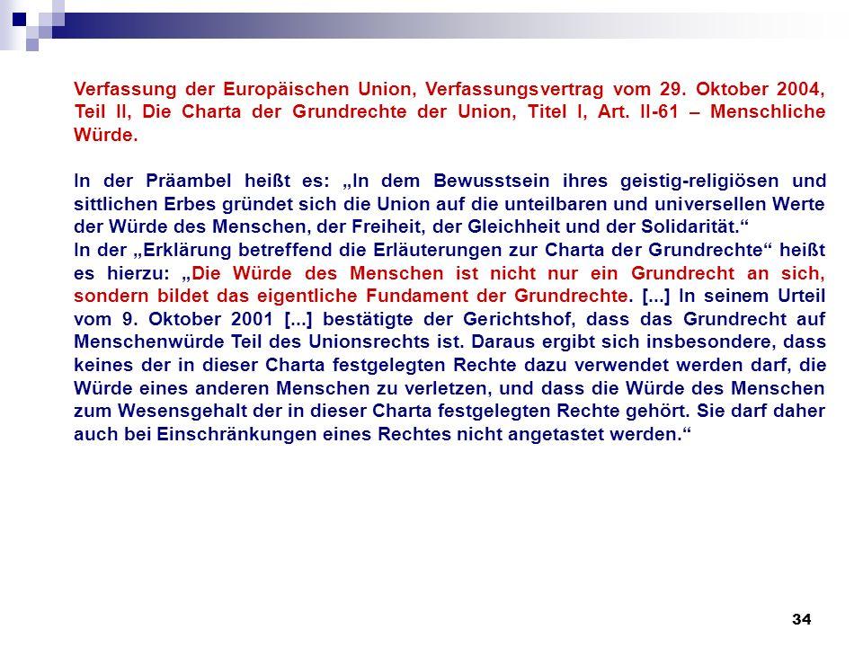 Verfassung der Europäischen Union, Verfassungsvertrag vom 29