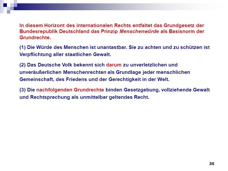 In diesem Horizont des internationalen Rechts entfaltet das Grundgesetz der Bundesrepublik Deutschland das Prinzip Menschenwürde als Basisnorm der Grundrechte.