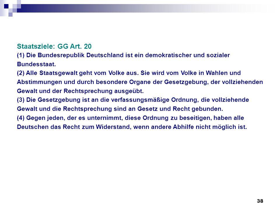 Staatsziele: GG Art. 20 (1) Die Bundesrepublik Deutschland ist ein demokratischer und sozialer Bundesstaat.