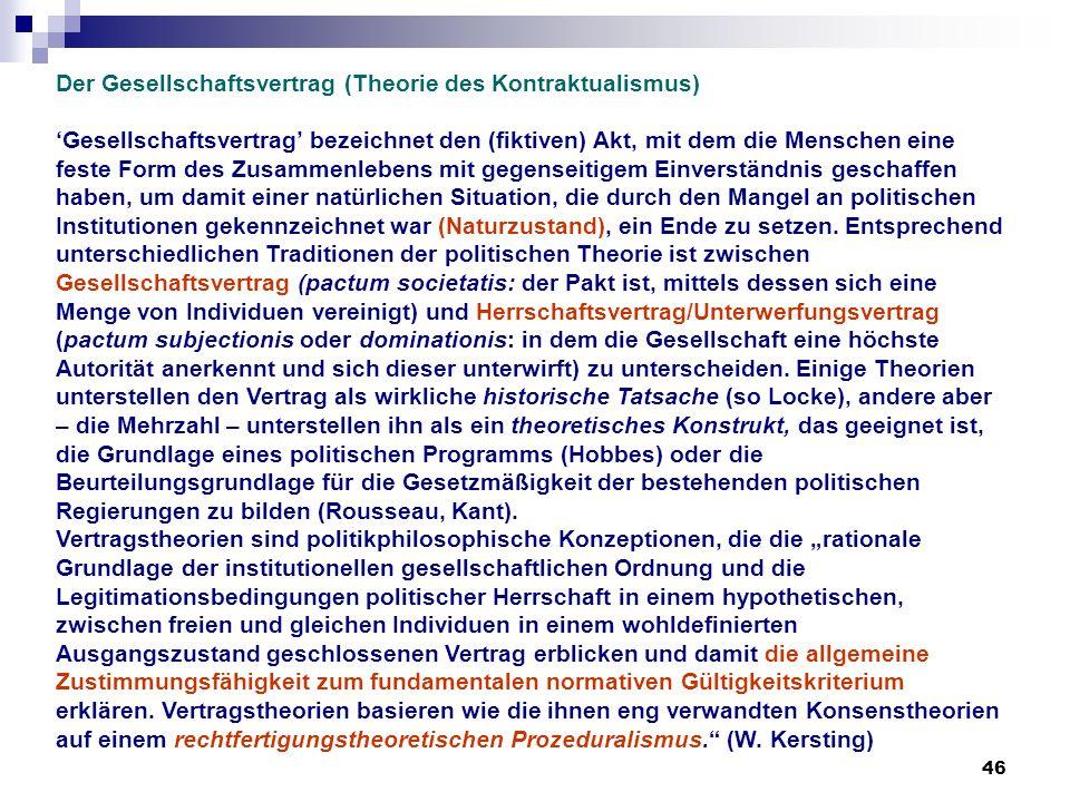 Der Gesellschaftsvertrag (Theorie des Kontraktualismus)