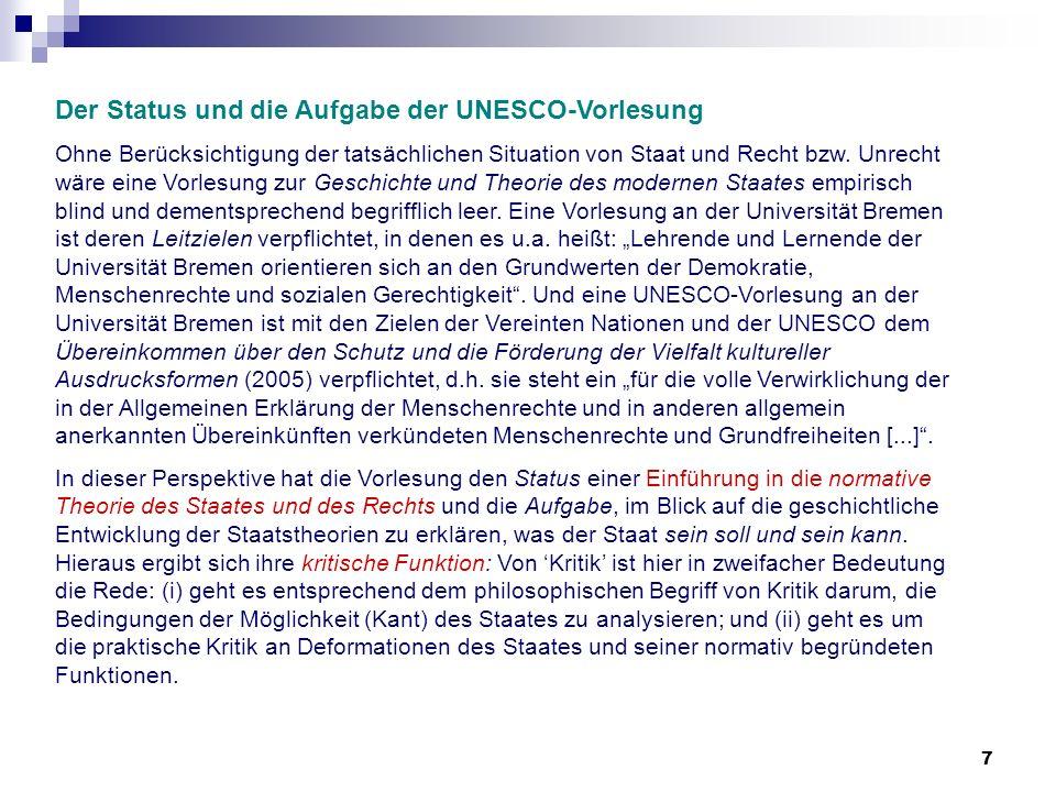 Der Status und die Aufgabe der UNESCO-Vorlesung