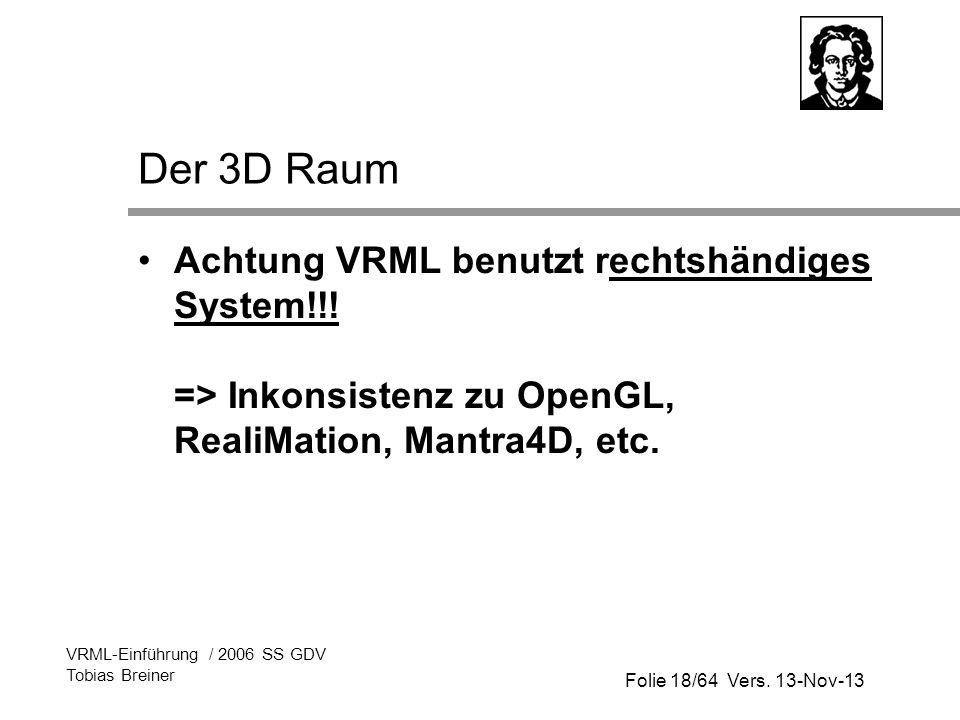 Der 3D Raum Achtung VRML benutzt rechtshändiges System!!! => Inkonsistenz zu OpenGL, RealiMation, Mantra4D, etc.