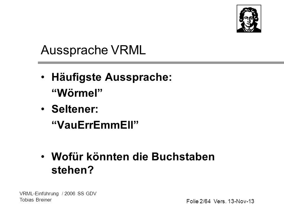 Aussprache VRML Häufigste Aussprache: Wörmel Seltener: