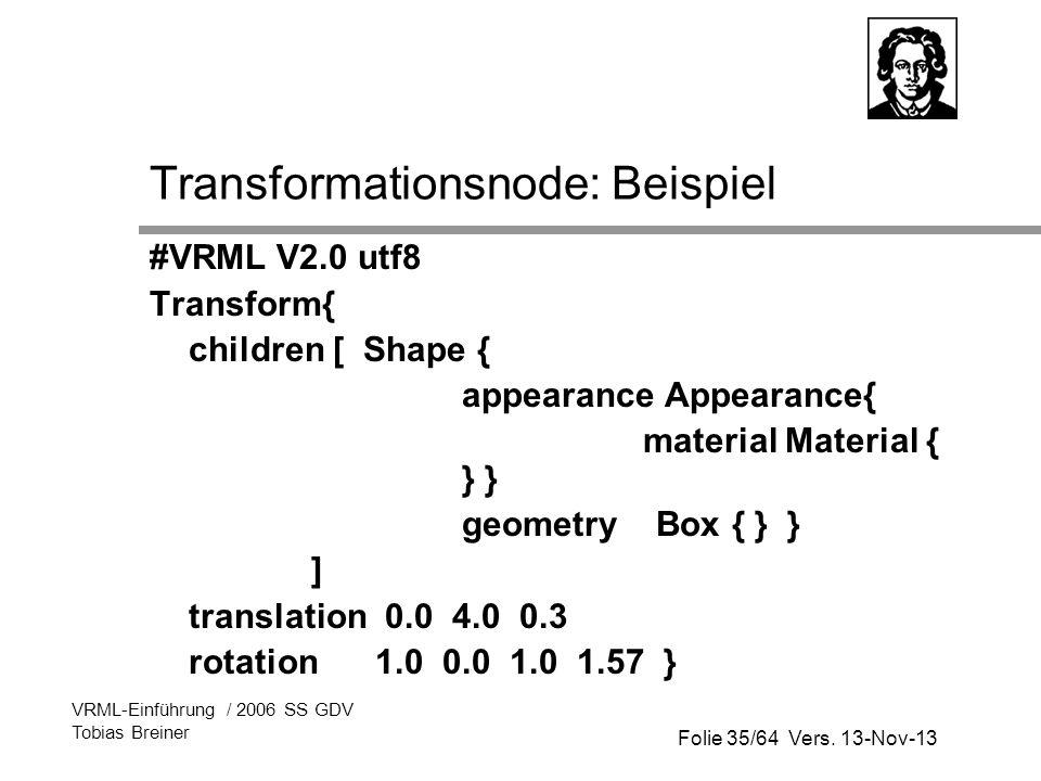 Transformationsnode: Beispiel