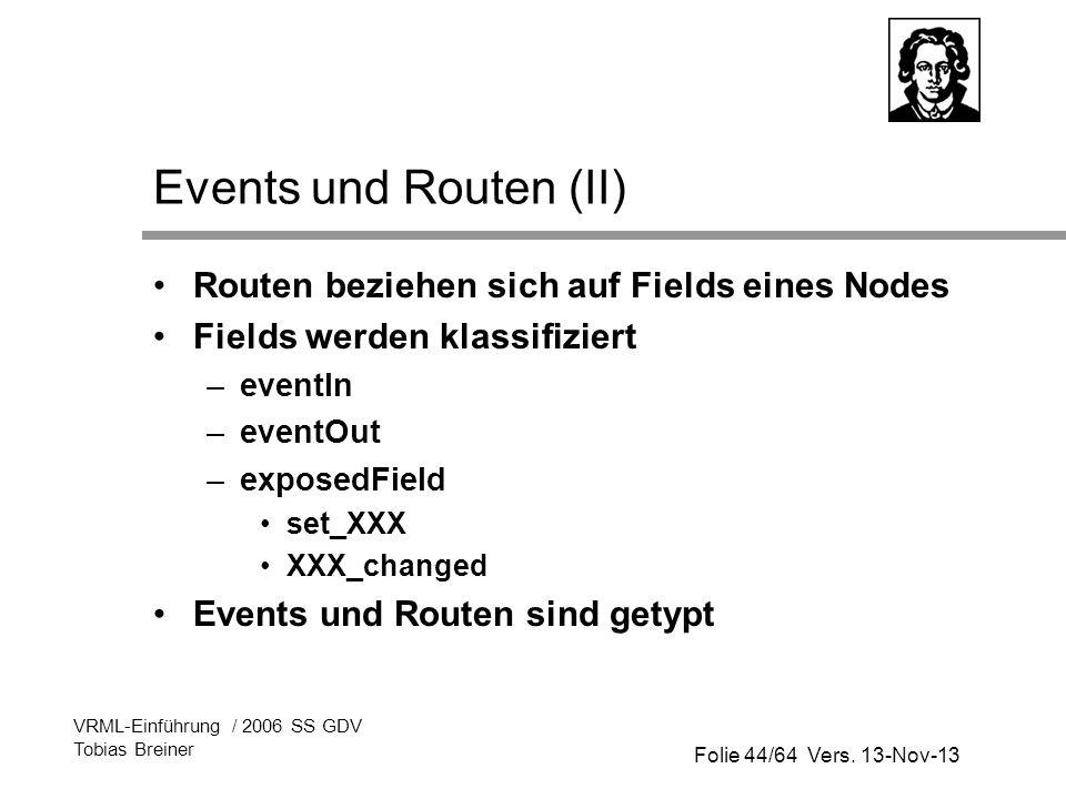 Events und Routen (II) Routen beziehen sich auf Fields eines Nodes