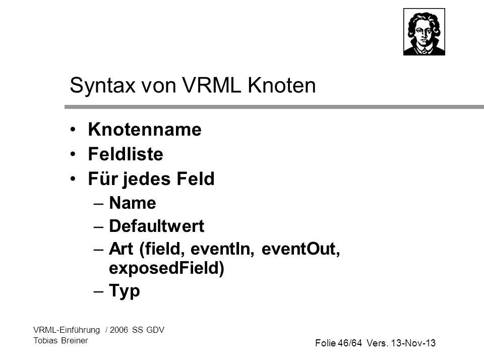 Syntax von VRML Knoten Knotenname Feldliste Für jedes Feld Name