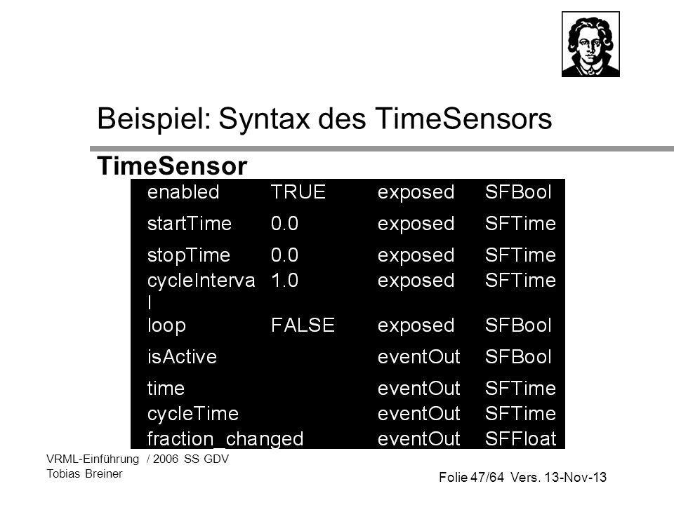 Beispiel: Syntax des TimeSensors
