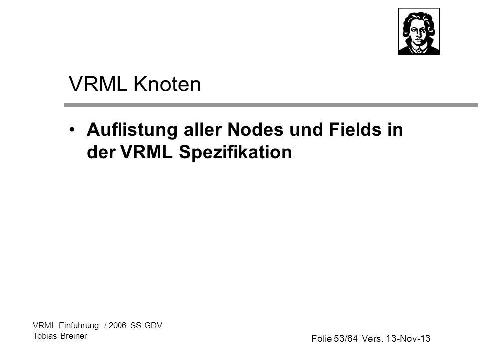 VRML Knoten Auflistung aller Nodes und Fields in der VRML Spezifikation. VRML-Einführung / 2006 SS GDV.