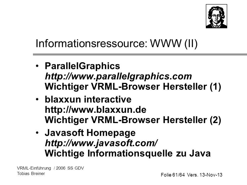 Informationsressource: WWW (II)