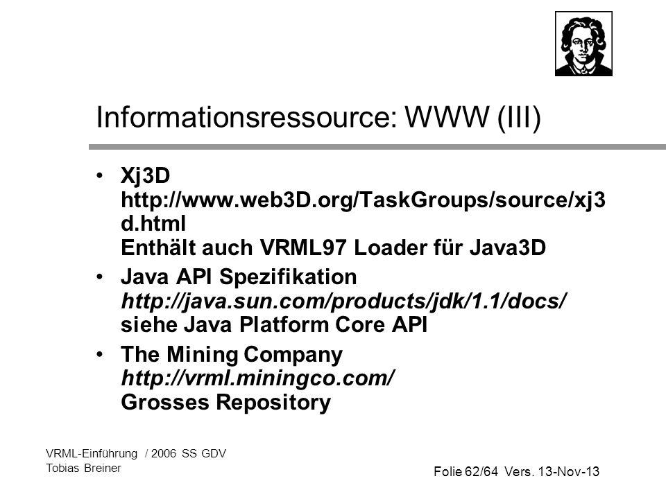 Informationsressource: WWW (III)