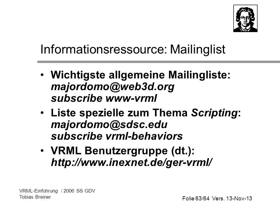 Informationsressource: Mailinglist