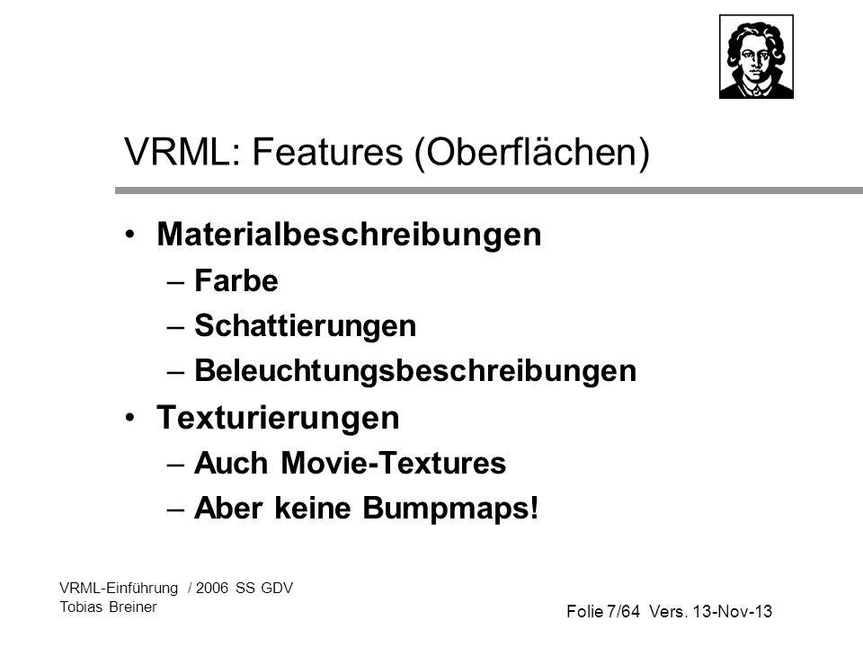 VRML: Features (Oberflächen)