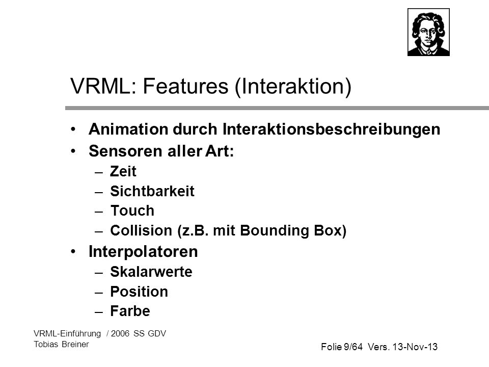 VRML: Features (Interaktion)