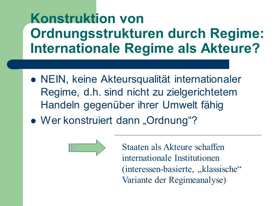 Konstruktion von Ordnungsstrukturen durch Regime: Internationale Regime als Akteure