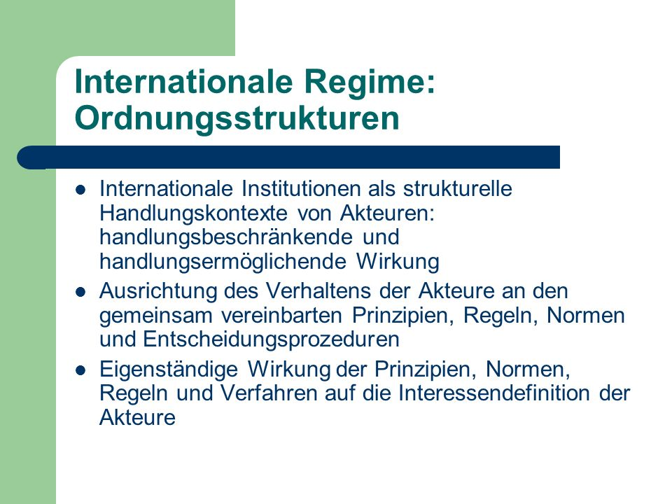 Internationale Regime: Ordnungsstrukturen