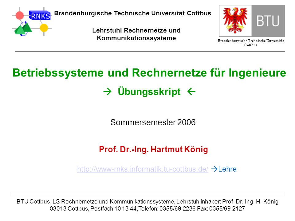 Betriebssysteme und Rechnernetze für Ingenieure  Übungsskript 