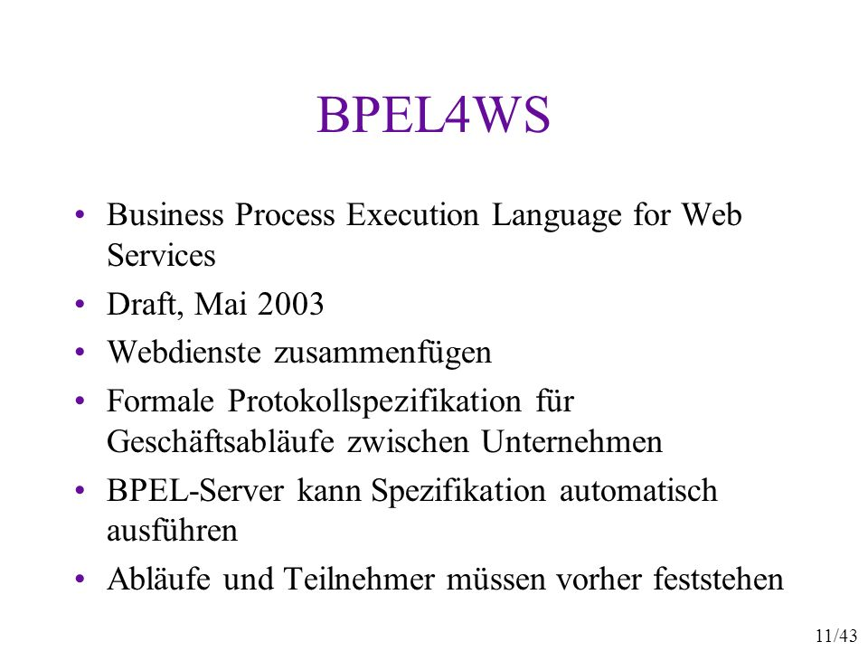 BPEL4WS Business Process Execution Language for Web Services