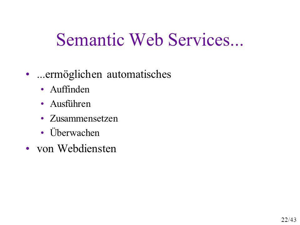 Semantic Web Services... ...ermöglichen automatisches von Webdiensten