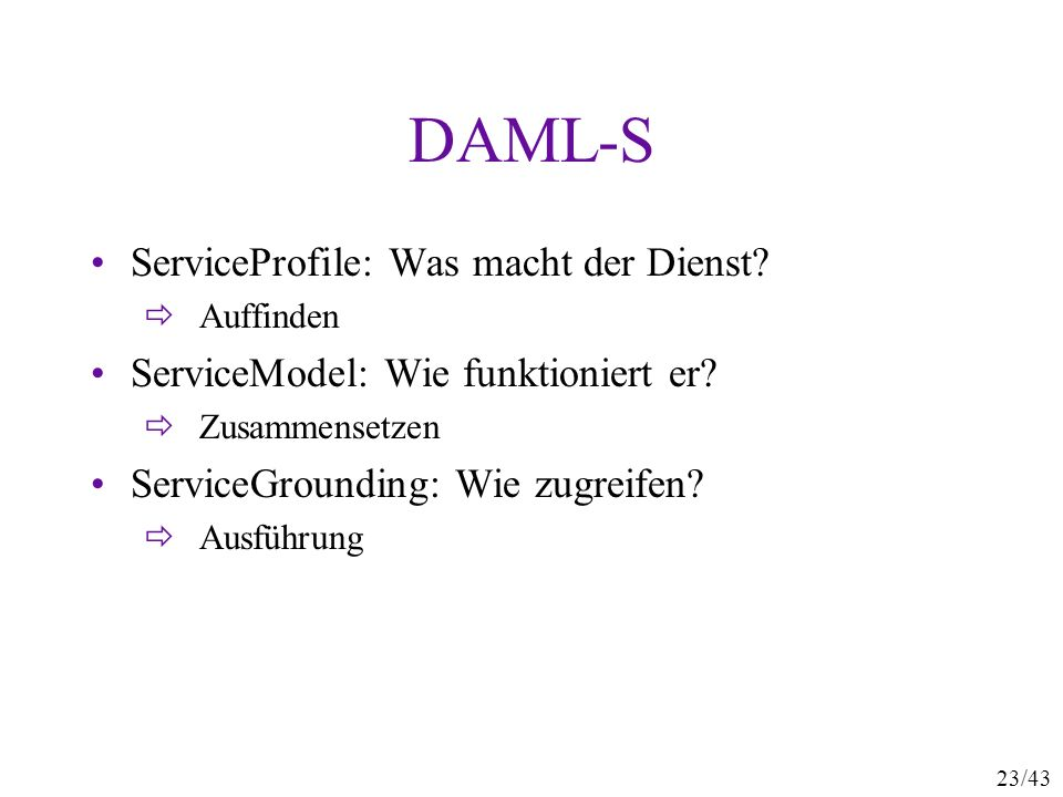 DAML-S ServiceProfile: Was macht der Dienst