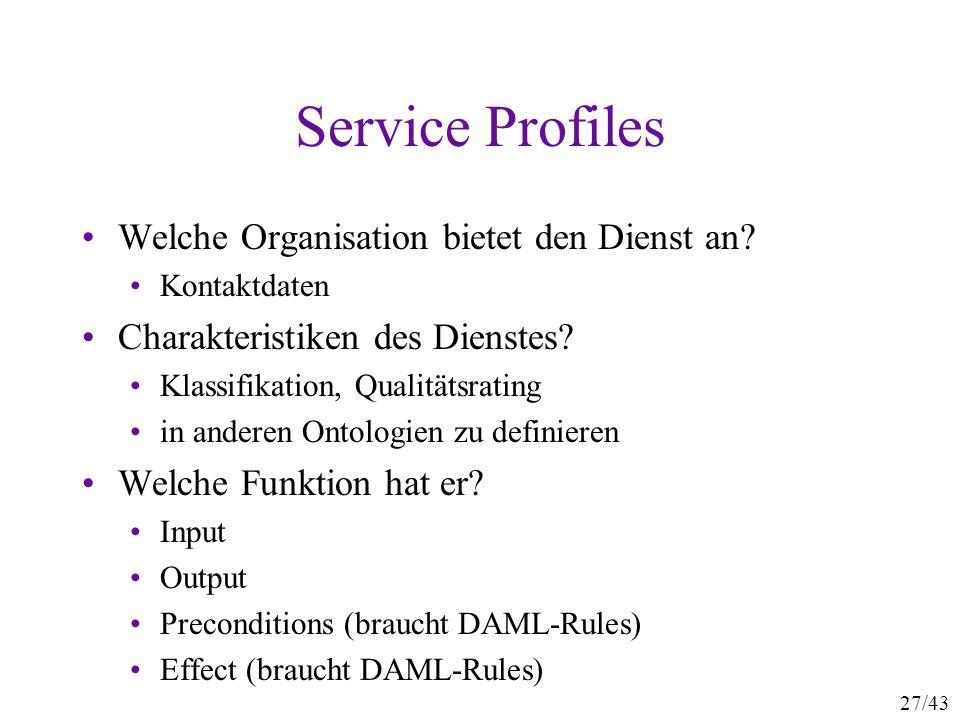 Service Profiles Welche Organisation bietet den Dienst an