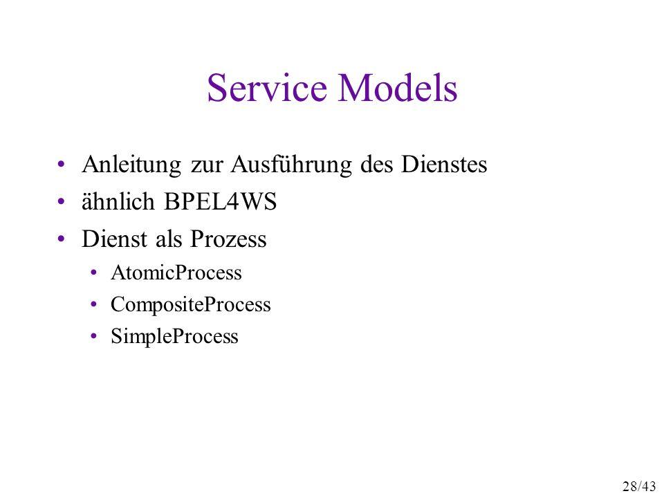 Service Models Anleitung zur Ausführung des Dienstes ähnlich BPEL4WS
