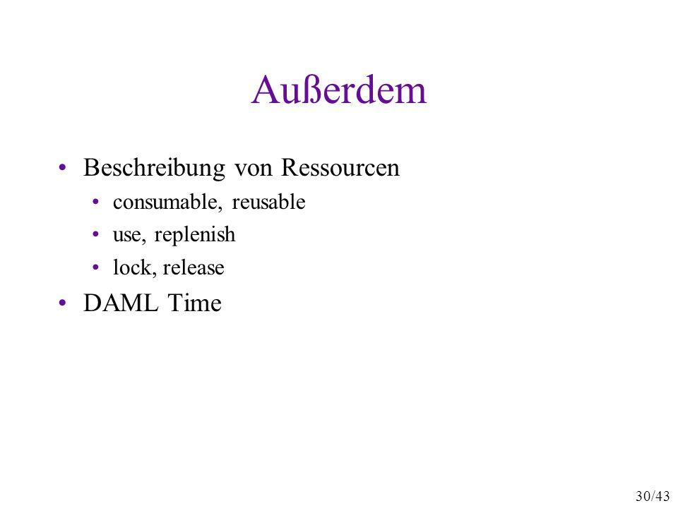 Außerdem Beschreibung von Ressourcen DAML Time consumable, reusable