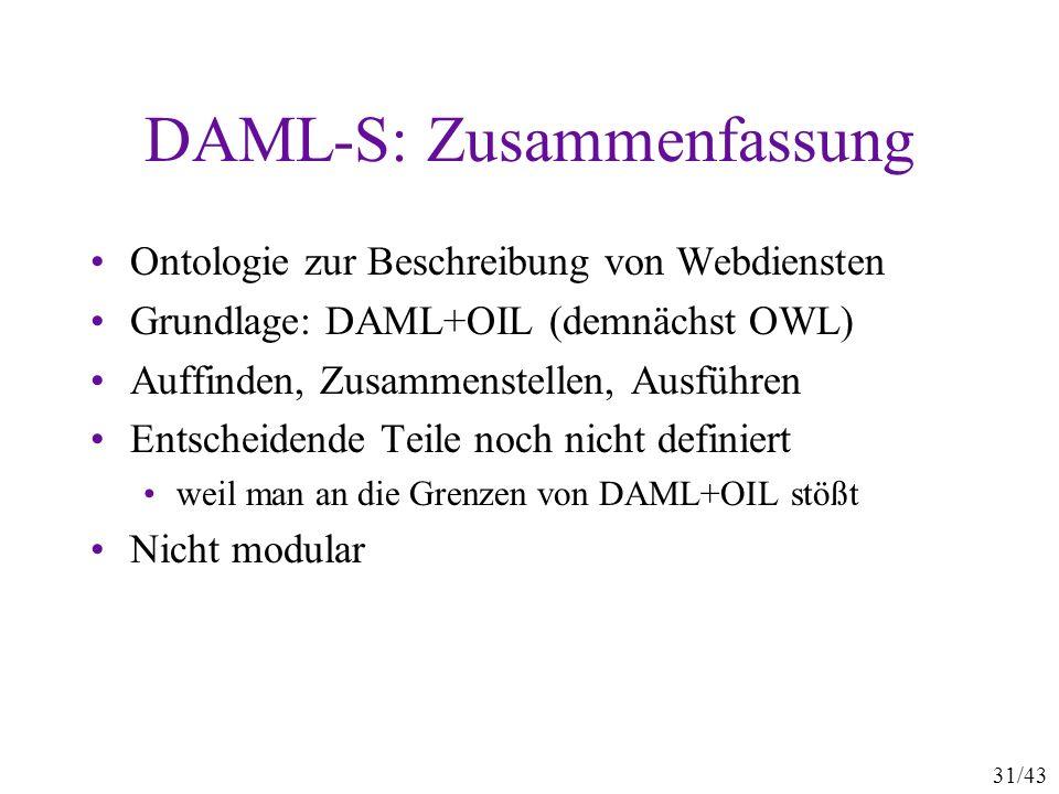 DAML-S: Zusammenfassung