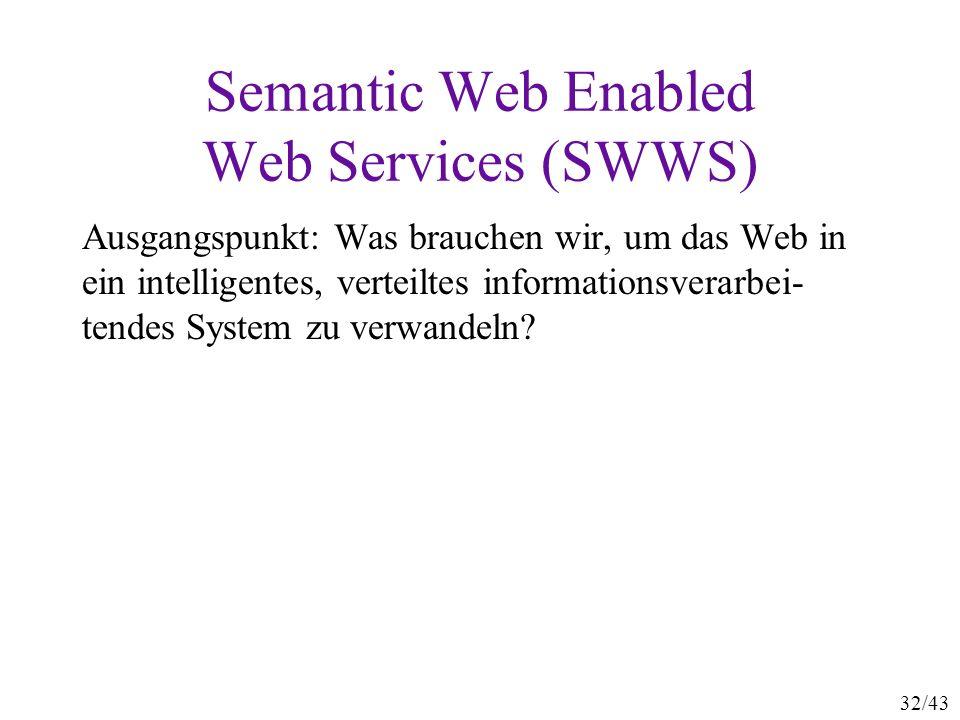 Semantic Web Enabled Web Services (SWWS)