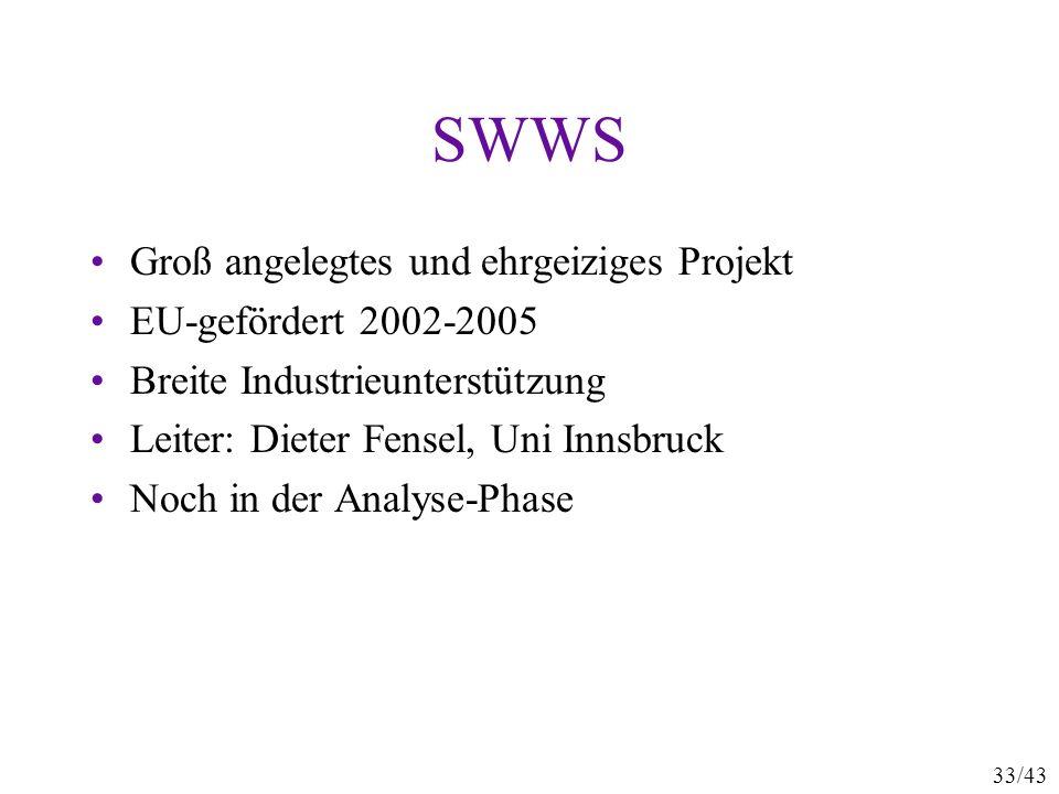 SWWS Groß angelegtes und ehrgeiziges Projekt EU-gefördert 2002-2005