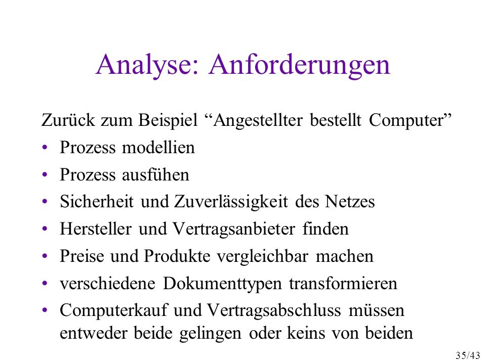 Analyse: Anforderungen