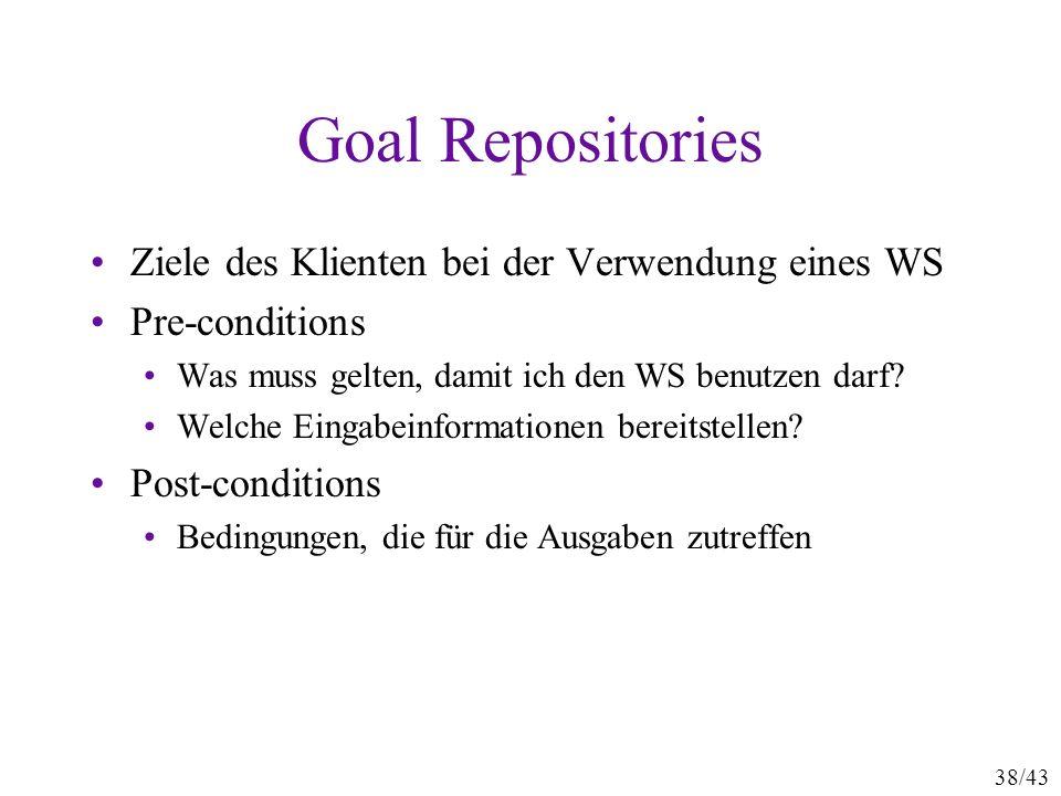 Goal Repositories Ziele des Klienten bei der Verwendung eines WS