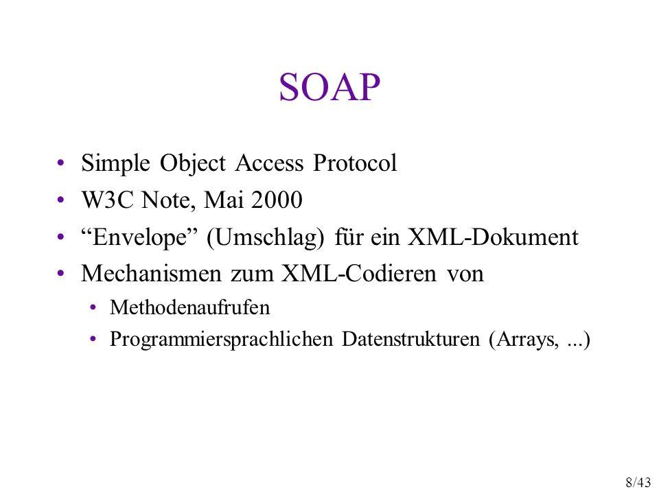SOAP Simple Object Access Protocol W3C Note, Mai 2000