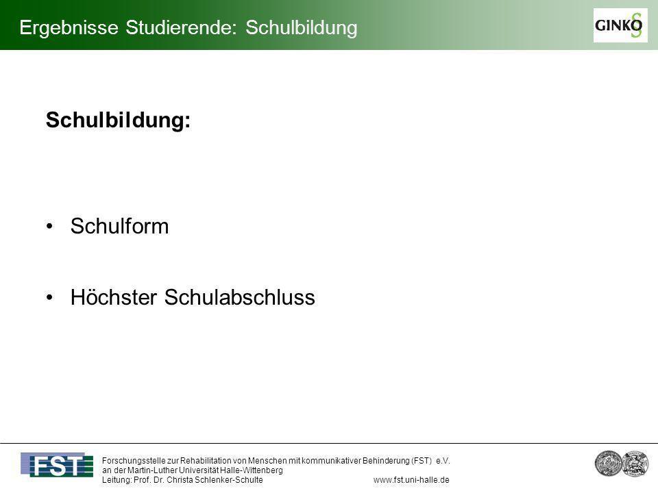 Ergebnisse Studierende: Schulbildung