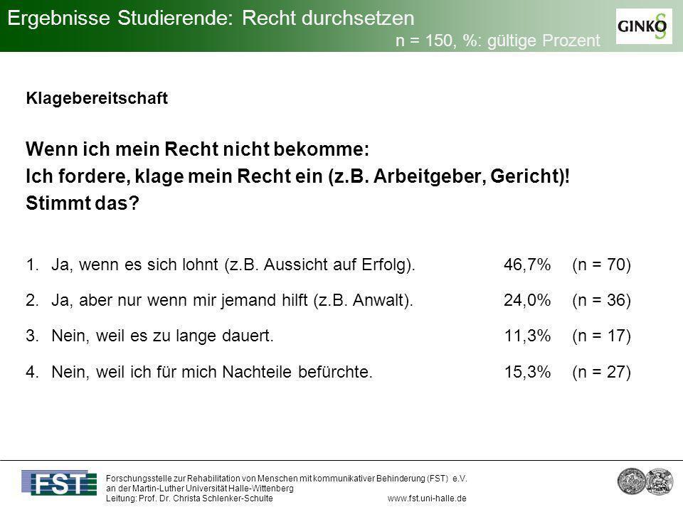Ergebnisse Studierende: Recht durchsetzen n = 150, %: gültige Prozent