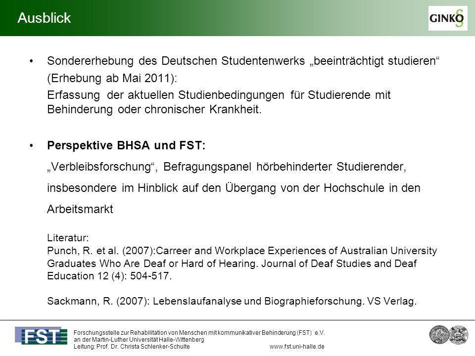 """AusblickSondererhebung des Deutschen Studentenwerks """"beeinträchtigt studieren (Erhebung ab Mai 2011):"""